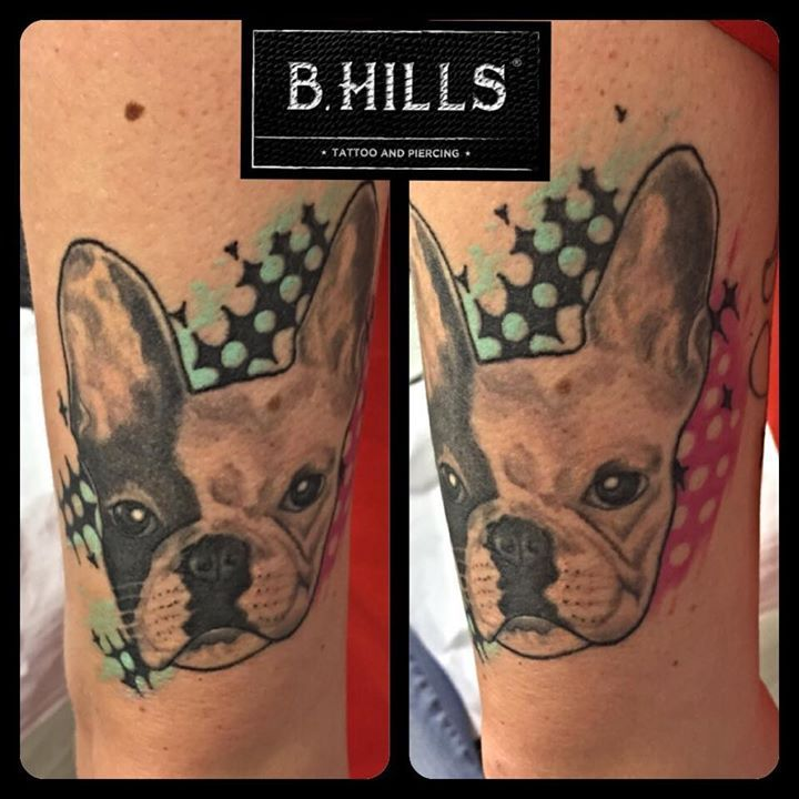 #Realistic #Dog #Tattoo #bulldog #french #bulldogfrench #ink #color #tattooartist #ladyoktopus