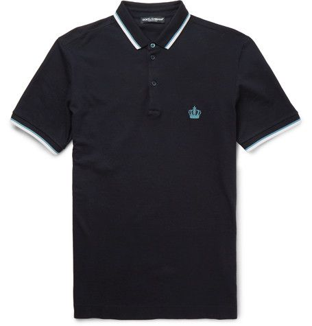 DOLCE & GABBANA Slim-Fit Cotton-Piqué Polo Shirt. #dolcegabbana #cloth #polos