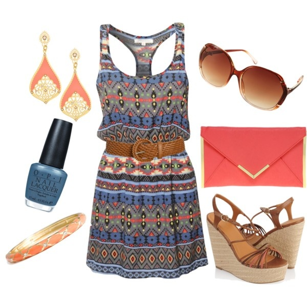 Aztec Print Dress with Coral Accessories! Lovve!