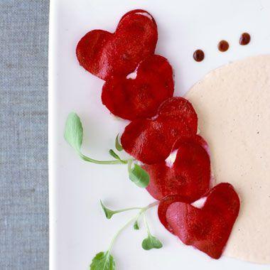 "Beet Ravioli with Pine Nut ""Goat Cheese""  Rosemary-Cream Sauce, Aged Balsamic Vinegar"