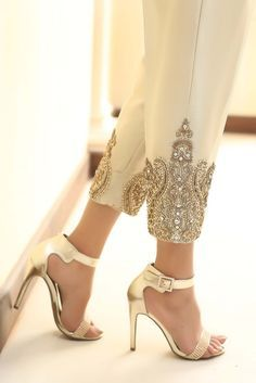 Gold jamavaar cigarette trousers with diamante embroidery.