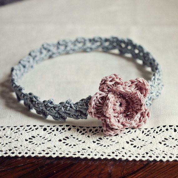 Instand download - Crochet PATTERN (pdf file) - Old Rose Headband (sizes - baby…