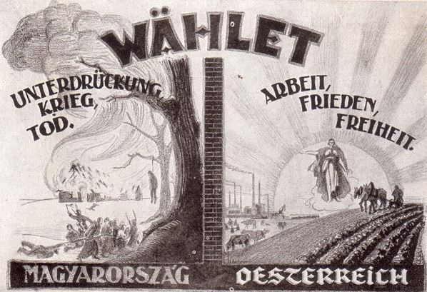 Válasszatok! Magyarország: elnyomás, háború, halál. – Ausztria munka, béke, szabadság.