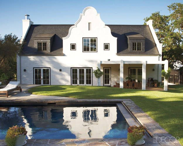 Contemporary Meets Colonial: The rear façade, which was inspired by the Cape Dutch farmhouses of South Africa.