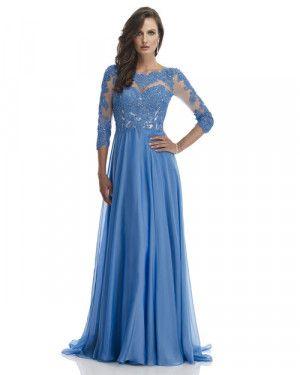 Vestido de festa azul com manga longa