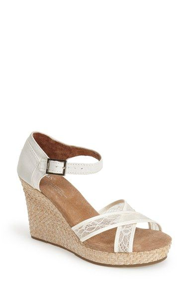 TOMS Lace & Grosgrain Ribbon Wedge Wedding Sandal (Women) available at #Nordstrom