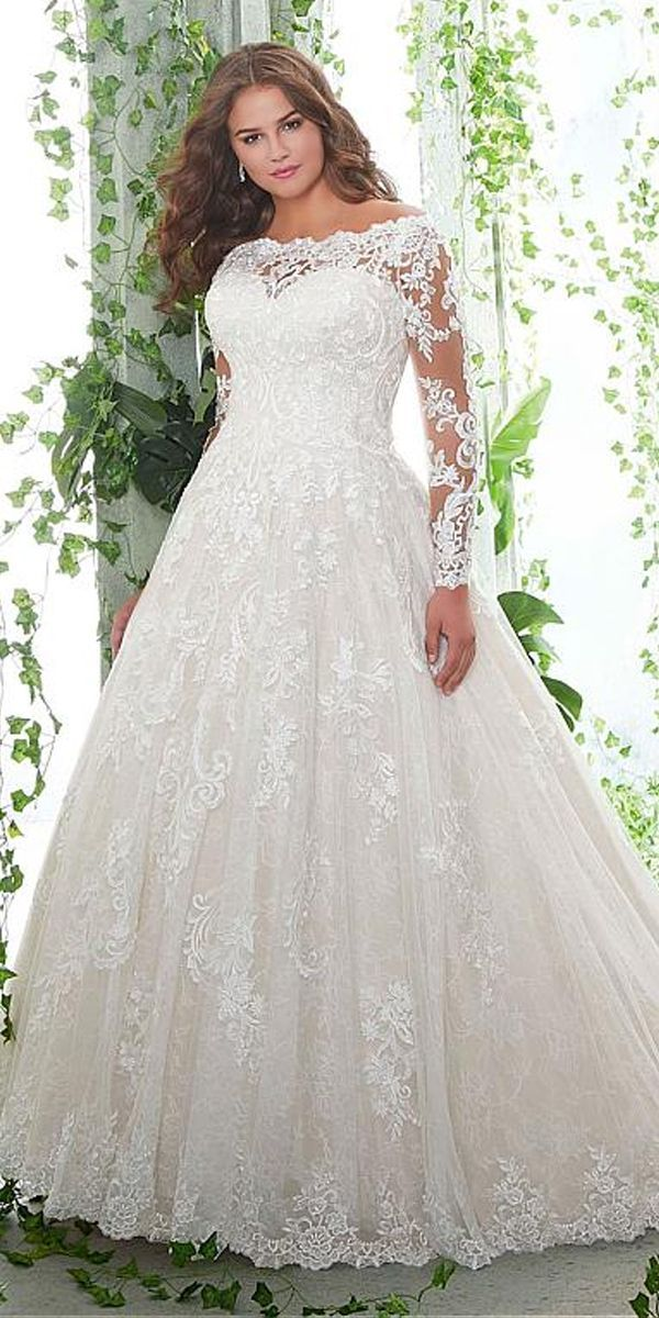 [276.59] Lavish Tulle Off-the-shoulder Neckline A-line Plus Size Wedding Dresses With Lace Appliques
