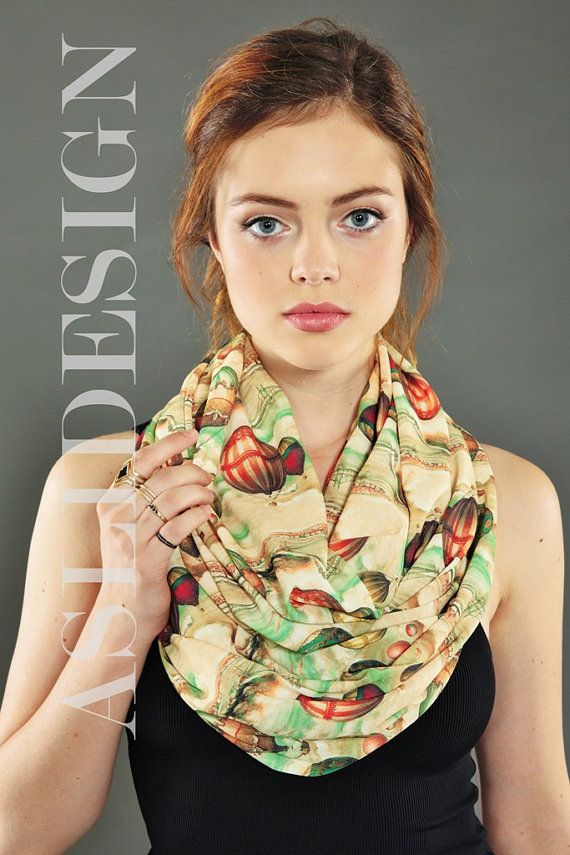 Victorian Air Balloons Pattern Infinity scarf Loop by Aslidesign Gift idea For Her Fall Fashion Christmas, 18.90 usd Coupon Code : PIN10 for %10 discount birthday gift
