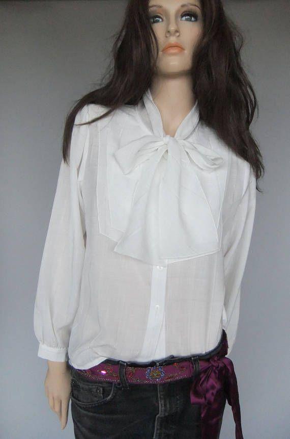 Women's blouse  off white secretary blouse vintage size