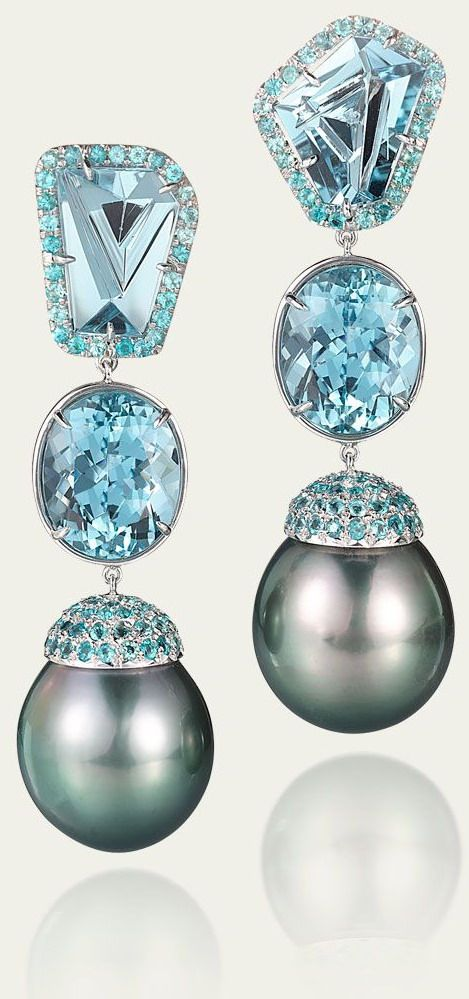 Fine jewelry / karen cox. Tamsen Z Black. Tahitian Pearl & Aquamarine Earrings.
