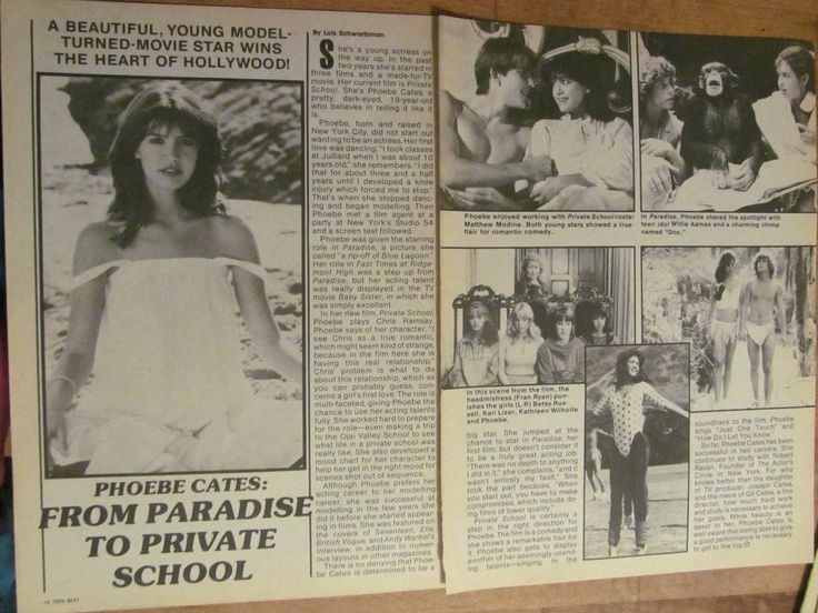 Phoebe Cates, Paradise, Two Page Vintage Clipping
