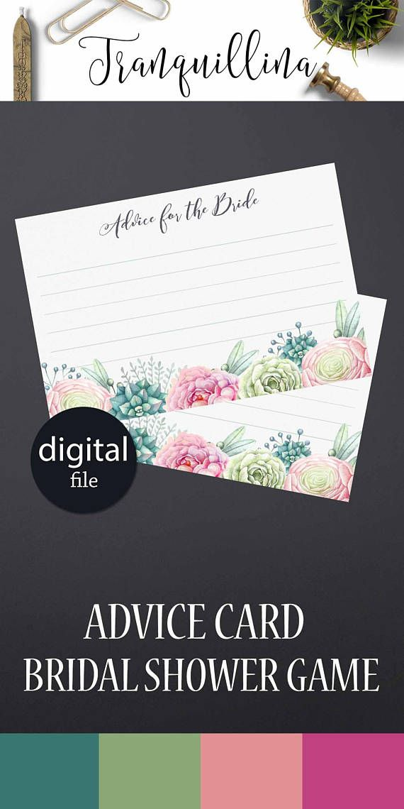 what to write in my bridal shower thank you cards%0A Advice for the Bride to be Printable Bridal Shower Advice cards  Succulent bridal  shower ideas