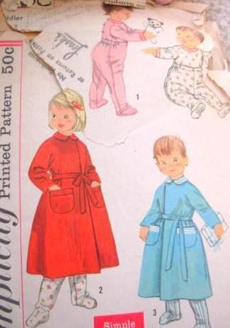 Simplicity 2290 toddler pajamas and robe pattern chest 21