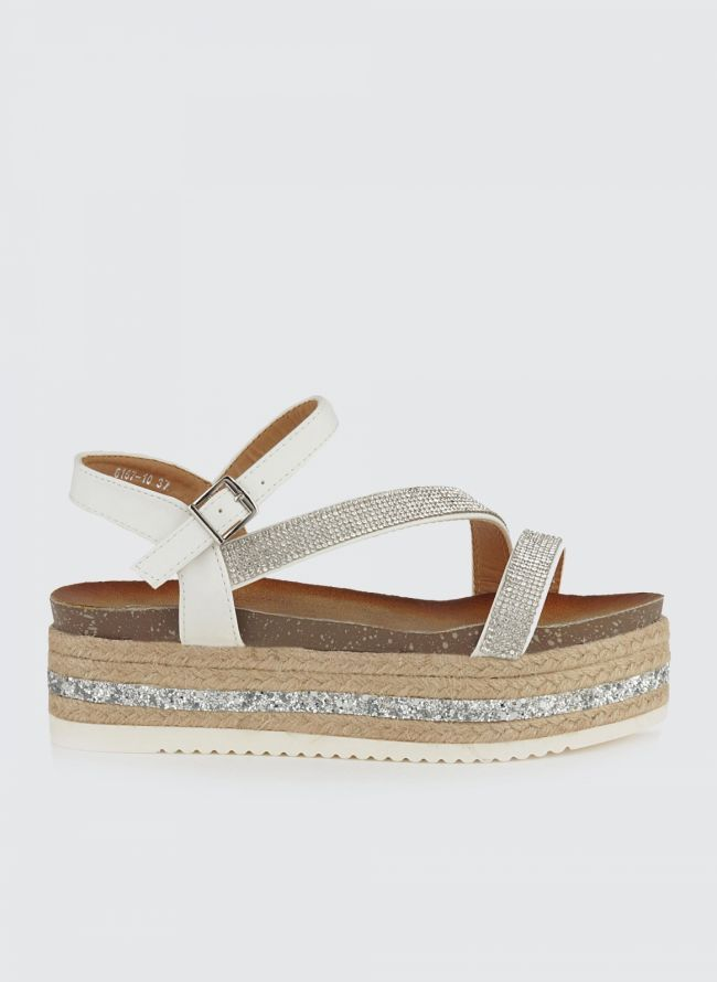 FLATFORM ΠΕΔΙΛΑ ΜΕ ΣΤΡΑΣ 6167/10 - The Fashion Project - Γυναικεία παπούτσια, ρούχα, αξεσουάρ