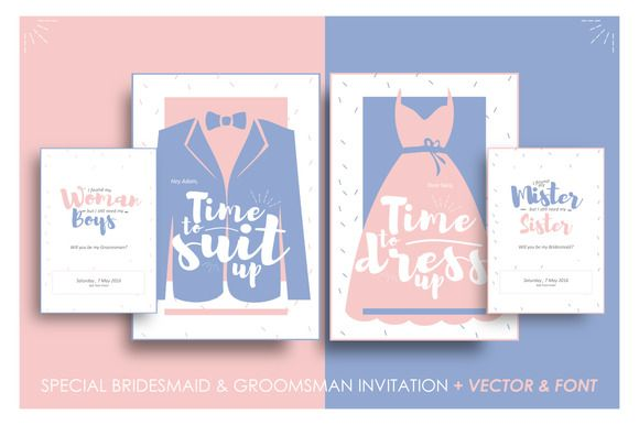Bridesmaid & Groomsman Invites by Laffmate on Creative Market