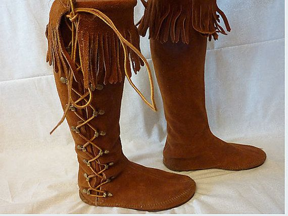 f0e4bc38cc8 Vintage 70s Minnetonka Suede Hippie Moccasin Boots