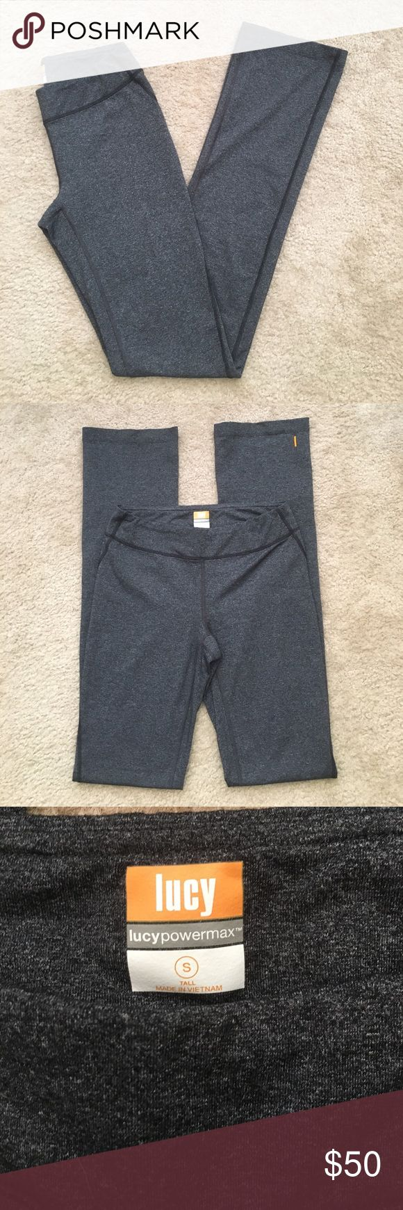 "🌸May sale!🌸Lucy yoga pants Dark grey straight leg powermax yoga pants from Lucy. Small interior pocket on left side of the waist. Size is small tall- 35"" inseam Lucy Pants"