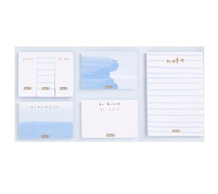 """Not only is this adhesive note set beautiful, it's also useful for jotting down quick reminders and lists to keep me organised during the school day. To """"be brave"""" is also an important philosophy to teach to my students..... #kikkikplannerlove #blueandgold #mykikkikstyle www.kikki-k.com"""