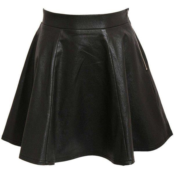 Pilot Sydnee Leather Look Skater Skirt (£22) ❤ liked on Polyvore featuring skirts, bottoms, black, vegan leather skirt, flared skirt, black knee length skirt, black faux leather skirt and black circle skirt