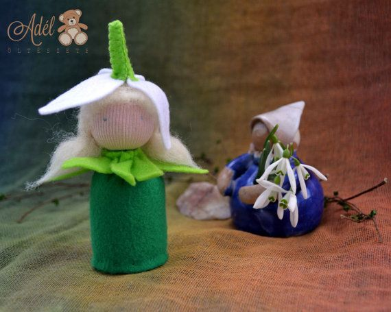 Little Snowdrop - Waldorf inspired flower child for the nature table of early spring