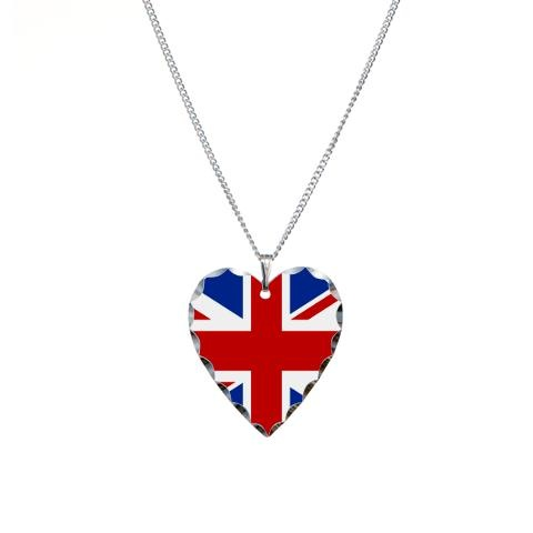 """'Union Jill' Necklace Heart Charm    http://www.cafepress.com/britshop.623318640    Shine bright & share your UK love with this head-turning & stylish necklace. Featuring a heart-shaped Union Jack pendant, this jewelry has a high-quality, easy-to-use clasp. Perfect for women who appreciate fashion & accessorizing.    - 1.2"""" Pendant is made of aluminum and features a polished-scallop edge  - 18"""" Brass necklace, electroplated nickel, silver plating, finished with non-tarnish gloss overcoat…"""