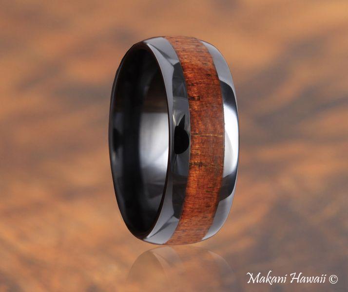 high tech ceramic koa wood inlaid wedding ring oval 8mm makani hawaiihawaiian heirloom - Koa Wood Wedding Rings
