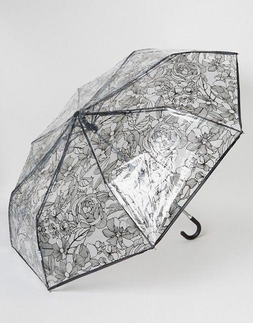 New Look   New Look - Parapluie transparent à fleurs façon esquisse