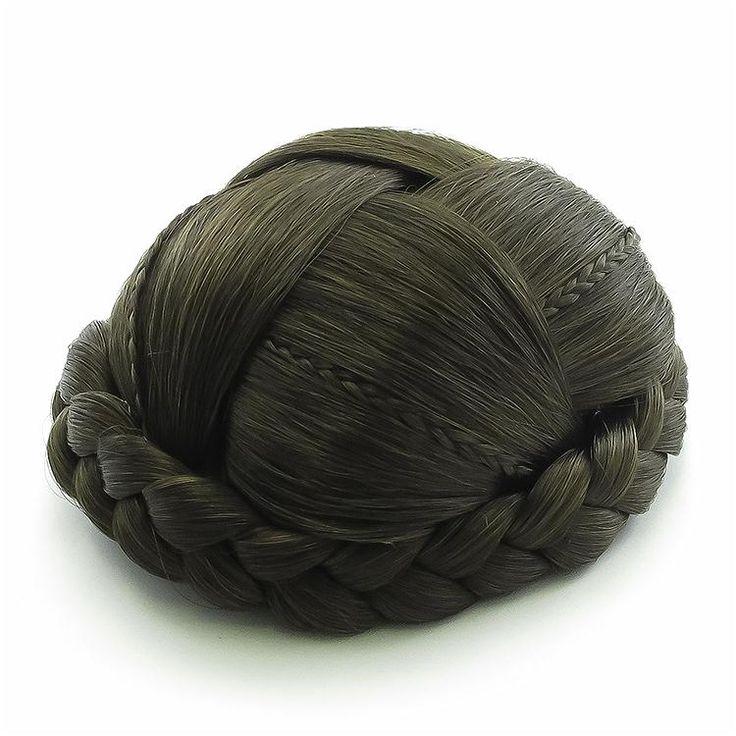 Small Clip In Braided Plait Dome Bun - Brown