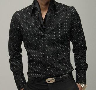 Men's High Collar Polka Dot Design Shirt