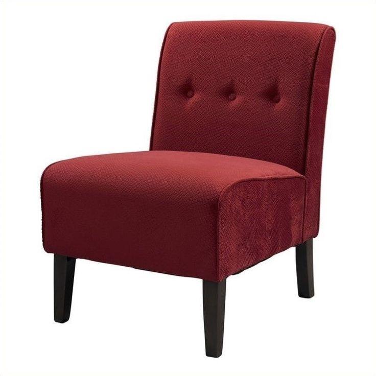 coco red accent chair in dark walnut