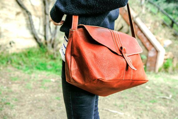 BIG Leather BAG // SAtchel Leather Handbag Large by KURTIK on Etsy