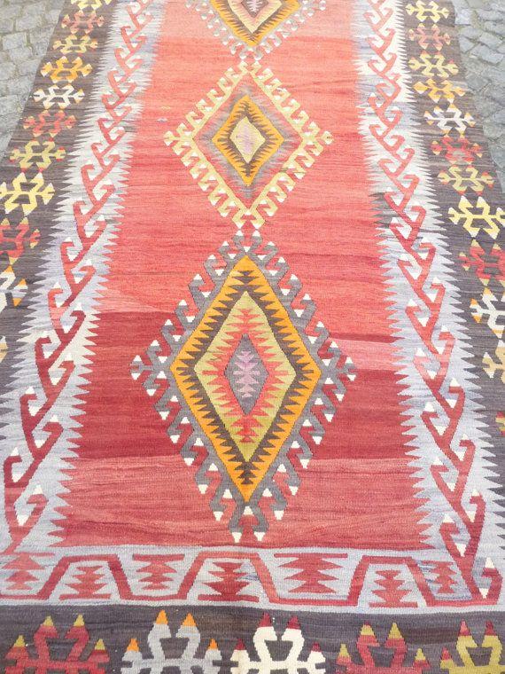 Red Ethnic Kilim Rug Anatolian Carpet Decorative Turkish Kilim Living room Decor FAST DELIVERY Unique Area Rug 348x148cm  Boho Home decor