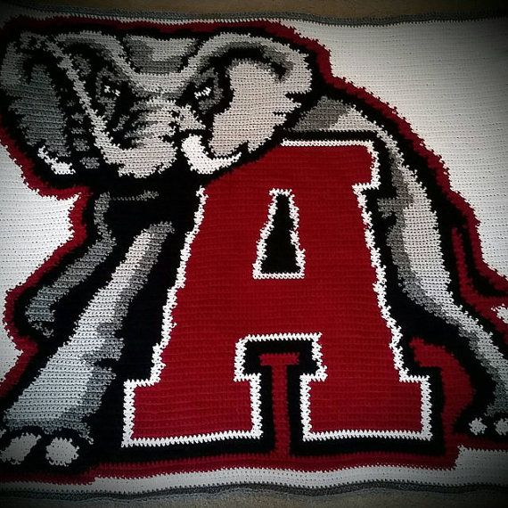 Alabama Crimson Tide Inspired Blanket Crochet Graph