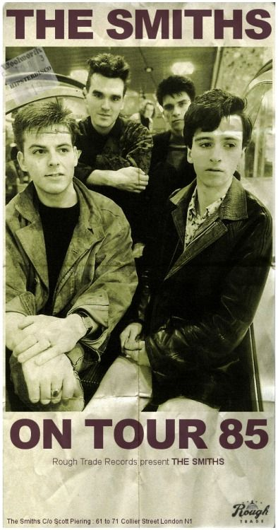The Smiths on Tour '85, Rough Trade Records Presents. Poster.