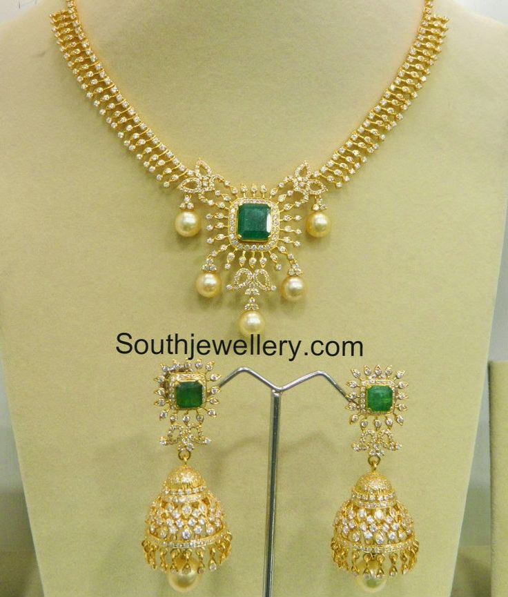 cz necklace and jhumkas