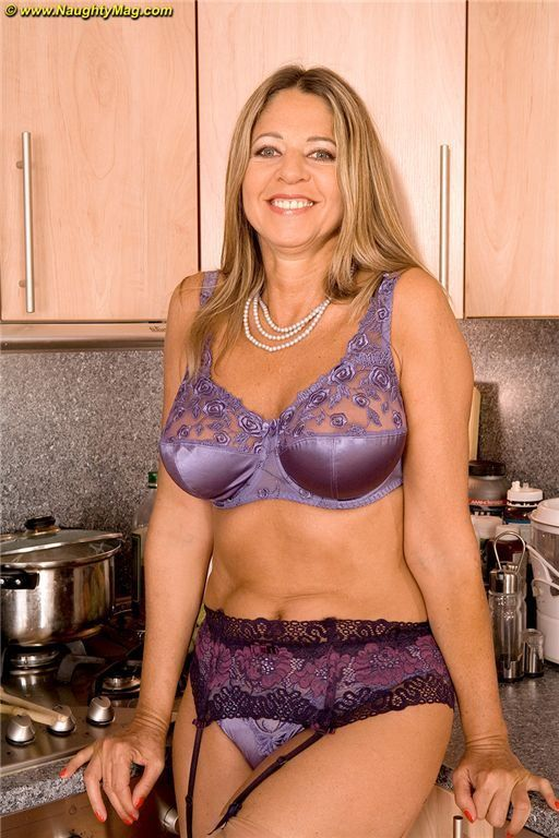 Mature satin panties suspenders