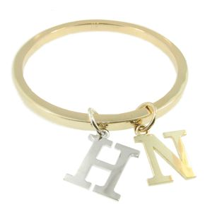 9ct Yellow Gold & Sterling Silver Initial Bangle, handmade by Sam Drummond at Cameron Jewellery