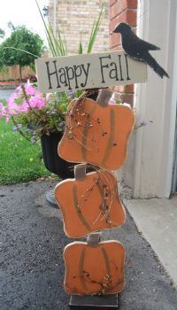 Happy Fall Welcome Pumpkin post... cute idea for outside the front door :o)
