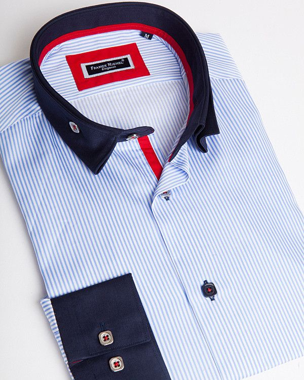 Men's reverse collar shirts - Andrea 2 blue