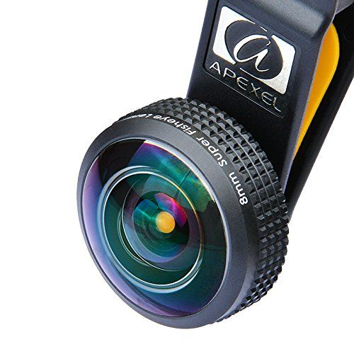 Apexel HD 8MM Super Wide Angle Fisheye Lens 238°Field of View with Lanyard for iPhone 6/6S Plus SE Samsung Galaxy S7/S7 Edge S6/S6 Edge and most Smartphone(No dark circle) ** Read more reviews of the product by visiting the link on the image.