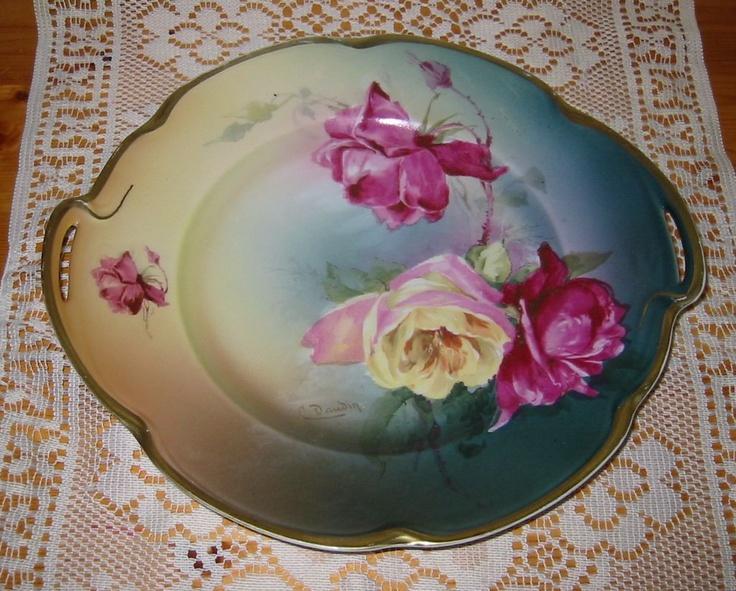 J Bavaria Louise Rose Plate Signed Ca1920 Beautiful Porcelain Pinterest Bavaria