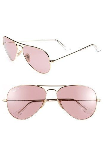 $195, Pink Sunglasses: Ray-Ban Original Aviator 58mm Polarized Sunglasses Pink One Size. Sold by Nordstrom. Click for more info: https://lookastic.com/women/shop_items/65049/redirect
