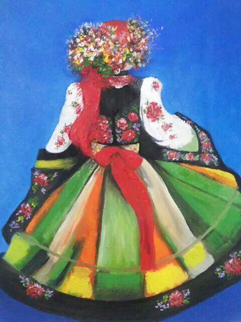 Titulo: Dançarina Polonesa  oleo sobre tela - Adriana Kmieć , 2014. Obra do Acervo do Museu de História Popular de Varsóvia,  Polônia