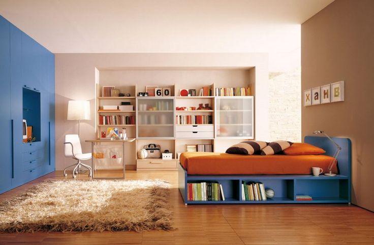 Thick Brown Fur Rug With Blue Kids Bedroom Furniture Plus Orange Bedding Also Wall Shelves Design