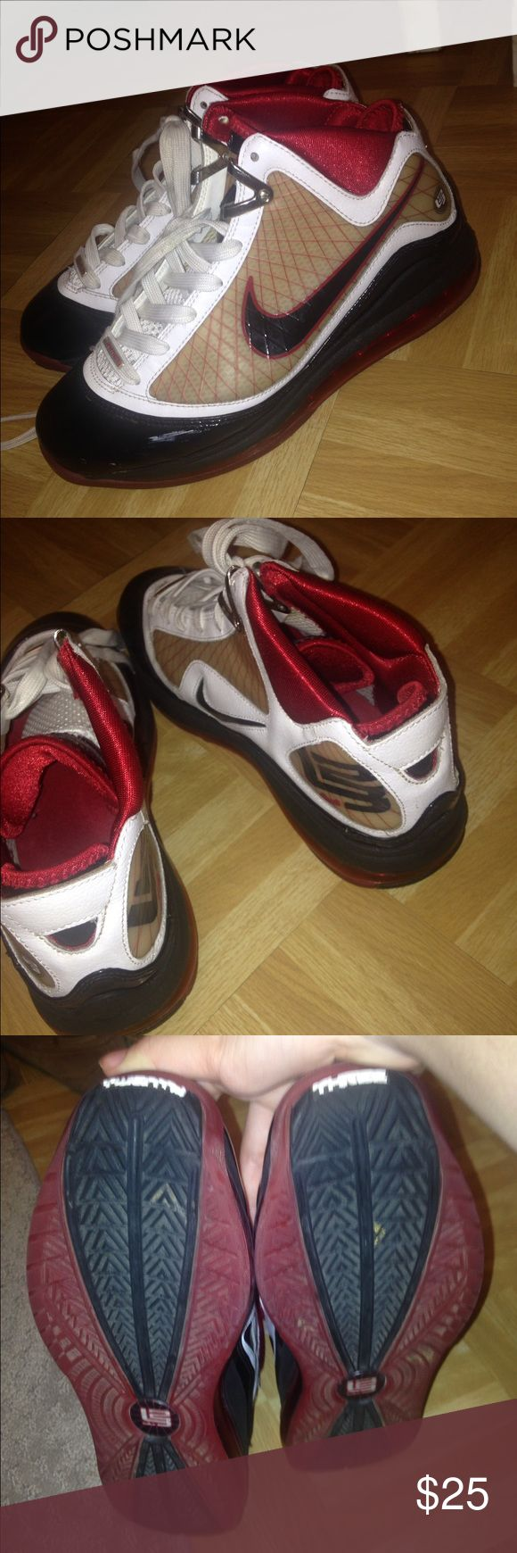 Red & Black Lebrons Lebron 23s in great condition except for a tiny bit of white paint on the side of left shoe - it just looks like shine. They are 6.5 youth. Which is an 8.5 in women's. Will negotiate. Nike Shoes Sneakers