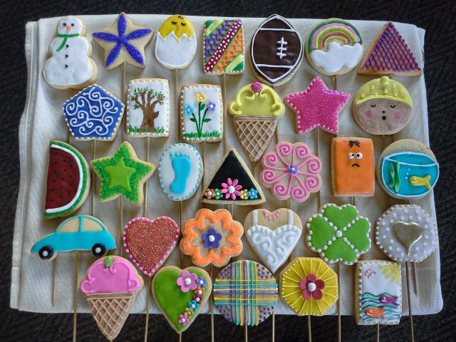 Decorated biscuits on a stick