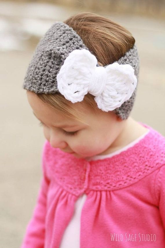 Crochet knot bow headband by QuailandClover on Etsy, $15.00