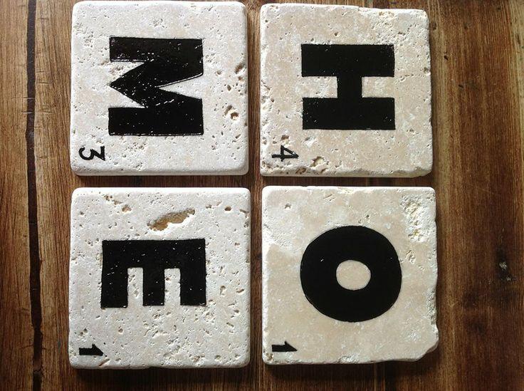 Scrabble letters coaster. Home.