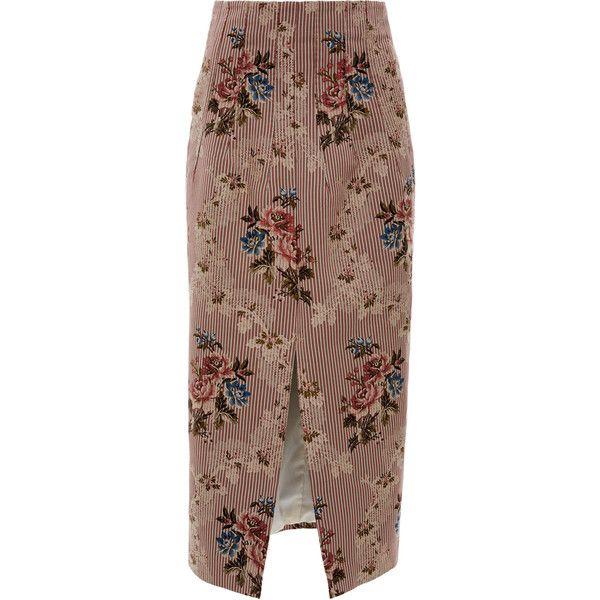Sorrel Skirt   Moda Operandi ($790) ❤ liked on Polyvore featuring skirts, pencil skirts, brown skirt, brown pencil skirt, knee length pencil skirts and front slit skirt