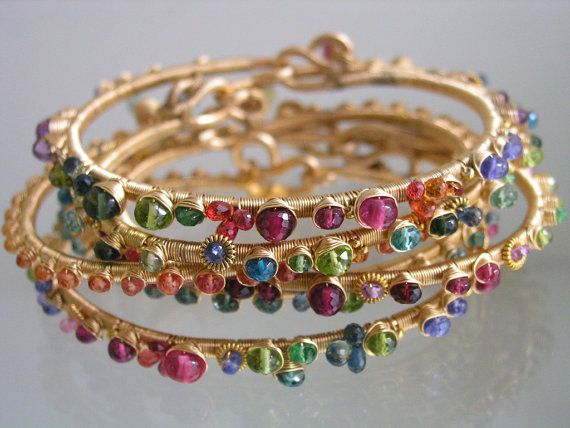 Gemstone Gold Filled Wire Wrapped Bracelet, Stackable Bangle, Colorful, Ruby, Tanzanite, Artisan Handmade, Original Design, Signature
